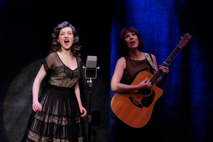 Sylvie Davidson and Jamie Drake in LONESOME TRAVELER at 59E59 Theaters. Photos by Carol Rosegg