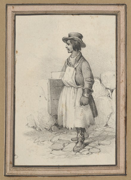 Victor Adam (French, 1801–1866) Man wearing an apron and a hat, mid–19th century French,  Lithograph; Sheet: 3 11/16 × 2 5/8 in. (9.4 × 6.7 cm) Mount: 12 5/16 x 18 1/16 in. (31.3 x 45.9 cm) The Metropolitan Museum of Art, New York, Gift of Dr. Stephen K. and Janie Woo Scher, 2012 (2012.401.4i) http://www.metmuseum.org/Collections/search-the-collections/638413