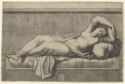 Marcantonio Raimondi (Italian, Argini (?) ca. 1480–before 1534 Bologna (?)) Cleopatra lying partly naked on a bed, ca. 1515–1527 Italian,  Engraving; 4 1/2 × 6 15/16 in. (11.5 × 17.6 cm) The Metropolitan Museum of Art, New York, Purchase, Joseph Pulitzer Bequest, 1917 (17.50.16.30) http://www.metmuseum.org/Collections/search-the-collections/685284