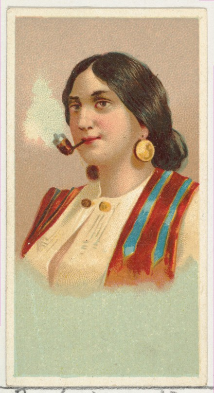 Allen & Ginter (American, Richmond, Virginia) Gypsy Girl, printer's sample from World's Smokers series (N33) for Allen & Ginter Cigarettes, 1888 American,  Commercial color lithograph; Sheet: 2 3/4 x 1 1/2 in. (7 x 3.8 cm) The Metropolitan Museum of Art, New York, The Jefferson R. Burdick Collection, Gift of Jefferson R. Burdick (63.350.202.33.13) http://www.metmuseum.org/Collections/search-the-collections/420380