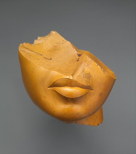 Fragment of a Queen's Face, ca. 1353–1336 B.C. Egyptian, New Kingdom, Amarna Period Yellow jasper; h. 13 cm (5 1/8 in); w. 12.5 cm (4 15/16 in); d. 12.5 cm (4 15/16 in) The Metropolitan Museum of Art, New York, Purchase, Edward S. Harkness Gift, 1926 (26.7.1396) http://www.metmuseum.org/Collections/search-the-collections/544514